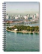 Retro Style Miami Skyline And Biscayne Bay Spiral Notebook