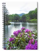 Rhododendron Blossoms And Mountain Pond Spiral Notebook