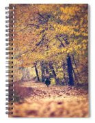 Riding A Bike In Autumn Spiral Notebook