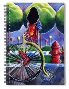 Riding Grandmas Bike Dog Antique Flowers Trees Spiral Notebook