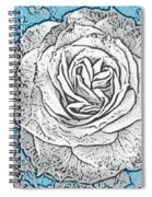 Ritzy Rose With Ink And Blue Background Spiral Notebook