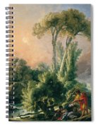River Landscape With An Antique Temple Spiral Notebook