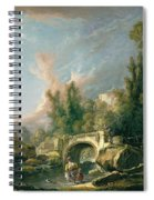 River Landscape With Ruin And Bridge Spiral Notebook