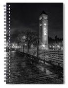Riverfront Park Clocktower Seahawks Black And White Spiral Notebook