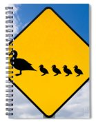 Roadsign Warning Ducks With Ducklings Crossing Spiral Notebook