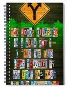 Robert Frost The Road Not Taken Poem Recycled License Plate Lettering Art Spiral Notebook