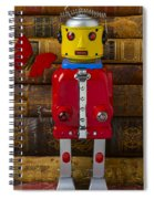 Robot With Butterfly Spiral Notebook