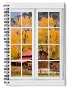 Rocky Mountain Autumn Ranch White Window View Spiral Notebook