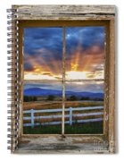 Rocky Mountain Country Beams Of Sunlight Rustic Window Frame Spiral Notebook