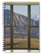 Rocky Mountains Flatirons With Snow Longs Peak Bay Window View Spiral Notebook