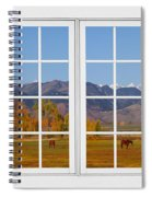 Rocky Mountains Horses White Window Frame View Spiral Notebook