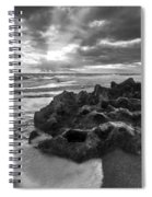 Rocky Surf In Black And White Spiral Notebook