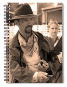 Rodeo Gunslinger With Saloon Girls Sepia Spiral Notebook