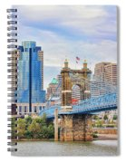 Roebling Bridge And Downtown Cincinnati 9850 Spiral Notebook