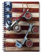 Rollar Skates With Wooden Flag Spiral Notebook