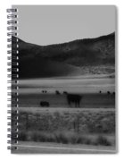 Rolling Hills And Cattle In Black And White Spiral Notebook