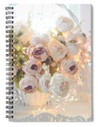 Romantic Shabby Chic Dreamy Pink And White Peonies - Shabby Chic Peonies In Basket Spiral Notebook