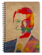 Ronald Reagan Watercolor Portrait On Worn Distressed Canvas Spiral Notebook