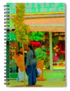 Roses At The Flower Shop Fleuriste Coin Vert Rue Notre Dame Springtime Scenes Carole Spandau Spiral Notebook
