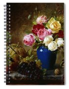 Roses In A Vase Peaches Nuts And A Melon On A Marbled Ledge Spiral Notebook