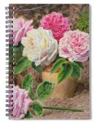 Roses In An Earthenware Vase By A Mossy Spiral Notebook