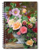 Roses Pansies And Other Flowers In A Vase Spiral Notebook