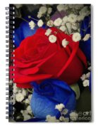 Roses - Red White And Blue Spiral Notebook
