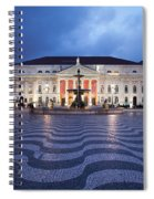 Rossio Square At Night In Lisbon Spiral Notebook