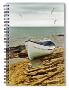 Row Boat On Rocky Shore Spiral Notebook