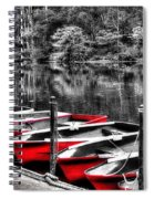 Row Of Red Rowing Boats Spiral Notebook