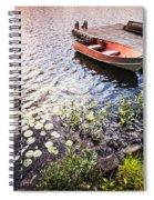 Rowboat At Lake Shore At Sunrise Spiral Notebook