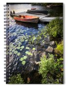 Rowboat At Lake Shore Spiral Notebook