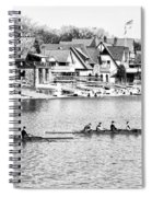 Rowing Along The Schuylkill River In Black And White Spiral Notebook