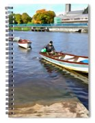 Rowing On The River - Irish Art By Charlie Brock Spiral Notebook