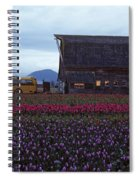 Rows Of Multi Colored Tulips In Field With Old Barn And Yellow B Spiral Notebook