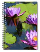 Royal Purple Water Lilies Spiral Notebook