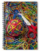 Rubber Band Ball With Sccisors Spiral Notebook