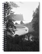 Ruby Beach In The Winter In Black And White Spiral Notebook