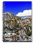 Rugged Cliffside Village Digital Painting Spiral Notebook