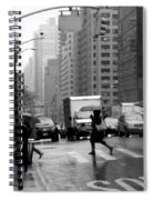 Running In The Rain - New York City Street Scene Spiral Notebook