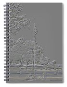 Rural Cemetery Black And White Embossed Digital Art Spiral Notebook