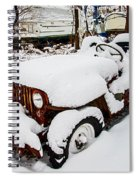 Rusty Jeep In Snow Spiral Notebook