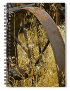 Rusty Old Wheel And Yellow Grasses Spiral Notebook