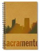 Sacramento California City Skyline Watercolor On Parchment Spiral Notebook
