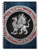 Sacred Silver Griffin On Blue Leather Spiral Notebook