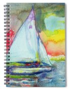 Sailboat Evening Wc On Paper Spiral Notebook