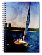 Sailboat Tilted Towers W Metal Spiral Notebook