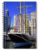 Sailing Boat Anchored In South Street Seaport 1984 Spiral Notebook