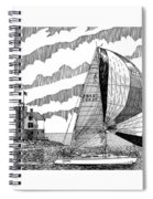 Holland Harbor Lighthouse And Spinaker Flying Sailboat Spiral Notebook