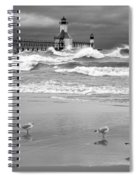Saint Joseph Michigan Lighthouses Stormy Day At Silver Beach I Bw Spiral Notebook